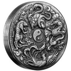 The stunning detail on this 'antiqued' coin shows the mythological Chinese Dragon's nine sons, each said to be endowed with a unique supernatural power | Chinese Ancient Mythical Creatures 2oz Silver Antiqued High Relief Coin
