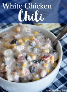 My husband BEGS me to make this white chicken chili all of the time