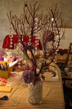 manzanita tree crystals DIY mason jar wedding purple