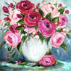Roses In Vase Painting by Jennifer Beaudet