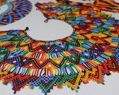 Large Okama Handmade Indigenous Rainbow Beaded Necklace   Etsy Beaded Collar, Beaded Choker, Beaded Jewelry, Beaded Necklaces, Good Spirits, Handmade Bracelets, Beautiful Necklaces, Necklace Lengths, Etsy