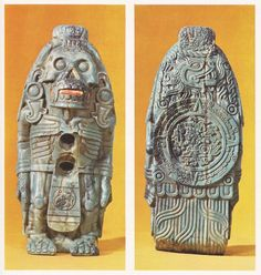Xolotl, twin brother of Quetzalcoatl in his aspect as the planet Venus (the evening star), when as a penitent he descended to the underworld. Xolotl too descended, as a dog, to bring forth bones for the creation of man. The two sides of this Aztec carving show the death-spirit and the sun.