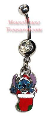 Stitch in Stocking Christmas Holiday Belly Ring