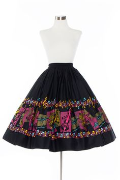 Pinup Couture Jenny 1950's Style Skirt in Music Border Print | Pinup Girl Clothing