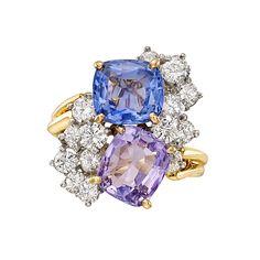 Estate+Oscar+Heyman+Multicolored+Sapphire+&+Diamond+Twin+Ring