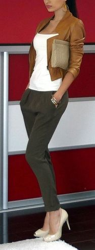 cute, dressy casual; not really feeling the heels though, it's prolly the pants w/ them.