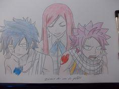 Erza, Nazu und Gray