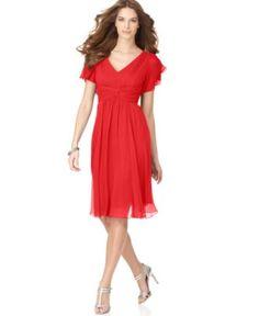 Suzi Chin Dress, Flutter Sleeve Chiffon - Womens Dresses - Macy's