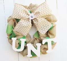 I Want This. Custom UNT burlap wreath 18 by SimplySlighCreations on Etsy, $45.00. For one day to hang on my classroom door!!