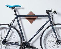Bike Rack Bike Shelf - Wall Mount / *Burnside* / Mahogany or Maple Wood Bicycle Rack / Modern Minimalist Simple Bike Storage