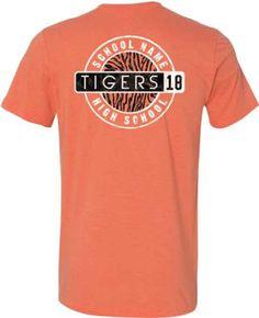 Image of school spirit gear t-shirt design idea for tigers. School Spirit Wear, School Spirit Shirts, School Shirts, Cheerleading Shirts, Cheer Shirts, Sports Shirts, Class Of 2018 Shirts, Club Shirts, Sport Shirt Design