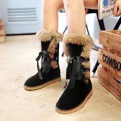 df4a59f96eeef6 Oaleen Bottes fourrées femme hiver à lacets suède chaussures bottines de  neige plate (Commandez une