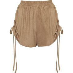 **Ruched Shorts by Oh My Love ($43) ❤ liked on Polyvore featuring shorts, tan, ruched shorts, relaxed fit shorts, crop shorts, relaxed shorts and tan shorts