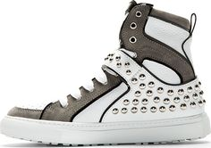 Dsquared2 Grey & White Leather Studded High-Top Sneakers