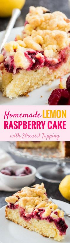 This easy Lemon Raspberry Cake is topped with delicious cookie-like streusel and filled with juicy raspberries! A buttery and moist lemon coffee cake with a layer of delicious raspberry filling that is perfect for spring and summer. Your guests will be begging you for the recipe!