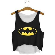 Cfanny Women's Sleeveless Batman Print Crop Top ($10) ❤ liked on Polyvore featuring tops, print tops, pattern tops, black top, sleeveless tops and black sleeveless top