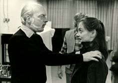 """In rehearsal: The director Hal Prince with Patti LuPone, who played Eva Peron in the 1979 Broadway production of """"Evita""""."""