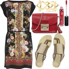 Celebrate the new #salutatorian at the #familycookout, where your #smartypants niece is sure to look up to your #easygoing #senseofstyle—thanks to a #scarfprint #dropwaistdress—as well as your burger-building prowess. Lawn-friendly #Fergie #metallicsandals  a sleek #minibag full of sunblock make ideal afternoon toppings for your carefree #graduationBBQ #relaxedlook.
