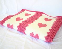 Crochet afghan pink white hearts throw blanket couch Valentines Day off white cross stitch home decor love feminine strips coverlet woman