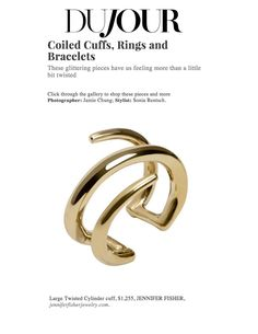 Dujour.com featuring a Jennifer Fisher brass large twisted cylinder cuff on their online story today!
