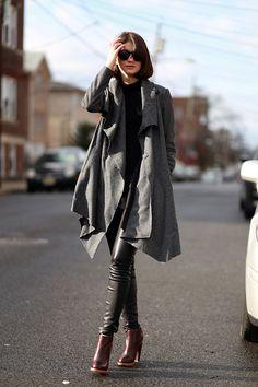 drape coat, leather pants & boots #style #fashion