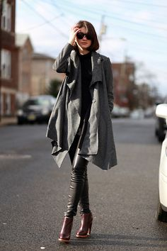 All Saints Coat, Vince Leather Pants, the layered cardigan