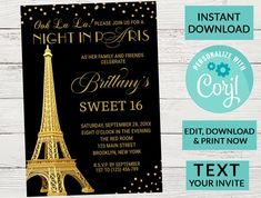 Paris Eiffel Tower Sweet 16 Invitation, Digital INSTANT DOWNLOAD Editable Invite | Gold Sparkle Glitter| Sweet 16 Party, Text Invitation by PurplePaperGraphics on Etsy Sweet 16 Invitations, Birthday Party Invitations, Sixteenth Birthday, Man Party, Sweet 16 Parties, Paris Eiffel Tower, Gold Sparkle, Text Messages, Invite