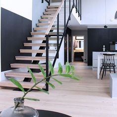 Do you live in a two-story house? But what are the cool stairs to connect the upper and lower floors? There are various forms of stairs, as well as the ingredients. We only need to choose wha… Black Staircase, Floating Staircase, Modern Staircase, Staircase Design, Stair Design, Modern Stairs Design, Modern Design, Timber Stair, Stair Railing