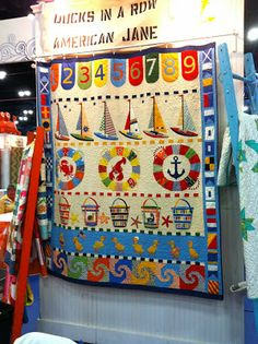 Minick & Simpson: October 2013 Not part of the shop hop, but I love it! Quilting Tutorials, Quilting Projects, Nautical Quilt, Baby Quilts, Children's Quilts, Quilting Board, Quilted Throw Blanket, Row By Row, Sampler Quilts