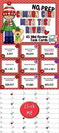 PSSA Common Core Test Prep Upper Elementary Mini Task Cards. Valentine/Winter Theme.