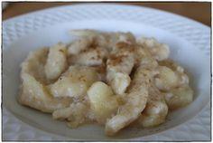 sweet apple dumplings applesauce  ginger in the basement.: Apfelnockerl.