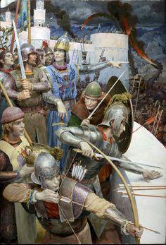 Denis Gordeev's illustrations from JRR Tolkien. Manwë and Varda The Fall of Gondolin (I think? Age Of Empires, O Silmarillion, Alchemy Art, Principles Of Art, Inspirational Artwork, Historical Art, Jrr Tolkien, Medieval Fantasy, Dark Fantasy