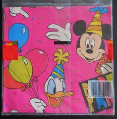 intage Disney Cleo Gift Wrap Wrapping Paper Mickey Mouse Donald Duck Party Time