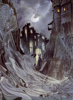 In a wild and craggy chasm Deep with shadows in the night, The Moon slips up above the rocks And casts an eerie light. The stones seem to s. Halloween Art, Vintage Halloween, Purple Halloween, Halloween Queen, Fantasy Castle, Fantasy Art, Night Shadow, Vintage Gothic, Dark Matter