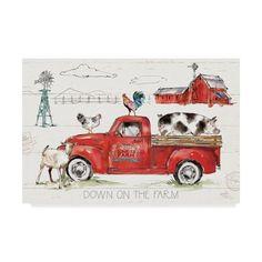 Canvas Art Prints, Painting Prints, Watercolor Paintings, Canvas Artwork, Art Paintings, Watercolors, Art Transportation, Vintage Red Truck, Down On The Farm