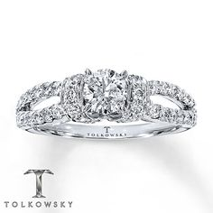 Tolkowsky Engagement Ring 1 ct tw Diamonds 14K White Gold