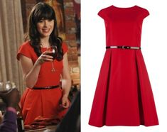 """Jess will be wearing this new red fit and flare dress for Thanksgiving in New Girl season 2 episode 8 """"Parents"""". Ted Baker 'Ladi' Full Skirted Belted Dress You can now buy this dress in mint too! Ted Baker Kleid, Ted Baker Dress, Jessica Day, Day Dresses, Nice Dresses, Girls Dresses, Prom Dress Shopping, Online Dress Shopping, Fashion Tv"""