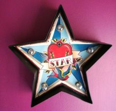 Illuminated-light-up-star-sign-carnival-tattoo-circus-metal-wall-retro-small