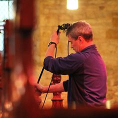 DMU Gospel Choir - recorded on location at Brooksby Church - David sets up the mics.