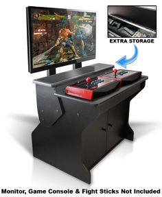 The Xtension Sit Down Pedestal Arcade Cabinet For Fight Sticks offers an extremely comfortable next-generation game console and classic style of arcade game play. Retropie Arcade, Arcade Retro, Bartop Arcade, Arcade Room, Arcade Stick, Arcade Games, Arcade Cabinet For Sale, Arcade Cabinet Plans, Arcade Console