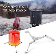 NICEJW Stove Base Holder,Outdoor Foldable Camping Gas Cartridge Tank Tripod Shelf Stand Stove Base Holder