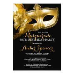 50th Birthday Party Invitations Gold Mask Masquerade 50th Birthday Party Card