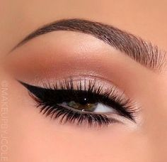 Neutral eyes with gorgeous glam liner                              …