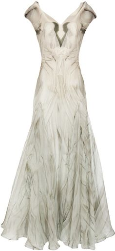 White Gown with Angel Print by Alexander McQueen