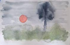 Sol y palmera.  Acuarela.  Amparo Ramis
