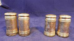 TWO SETS of VTG EPNS Silver-plate & Glass Salt & Pepper Shakers