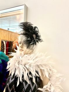 Another sassy look our Manequine is showing off for some Halloween costume inspiration. 💀💀💀 She's wearing a Rhinestone Skull Feather Headband with a White Feather Wig and a very special Fancy Feather Boa. So BOOuitful! . . . #thefeatherplace #featherheadband #FeatherBoa #FeatherWig #HalloweenCostumeAccessories Feather Mask, Feather Skirt, Feather Headband, Animal Costumes, Diy Costumes, Halloween Costumes, White Feathers, Ostrich Feathers, Halloween Costume Accessories