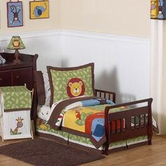 Toddler Boys Bedding Set 5-Piece Jungle Time Toddler Comforter Set New Arrival #Generic