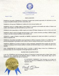 Middletown, CT - Mayoral proclamation recognizing Diaper Need Awareness Week (Sept. 26 - Oct. 2, 2016) #DiaperNeed www.diaperneed.org