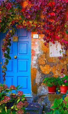Patio pintoresco. love blue doors